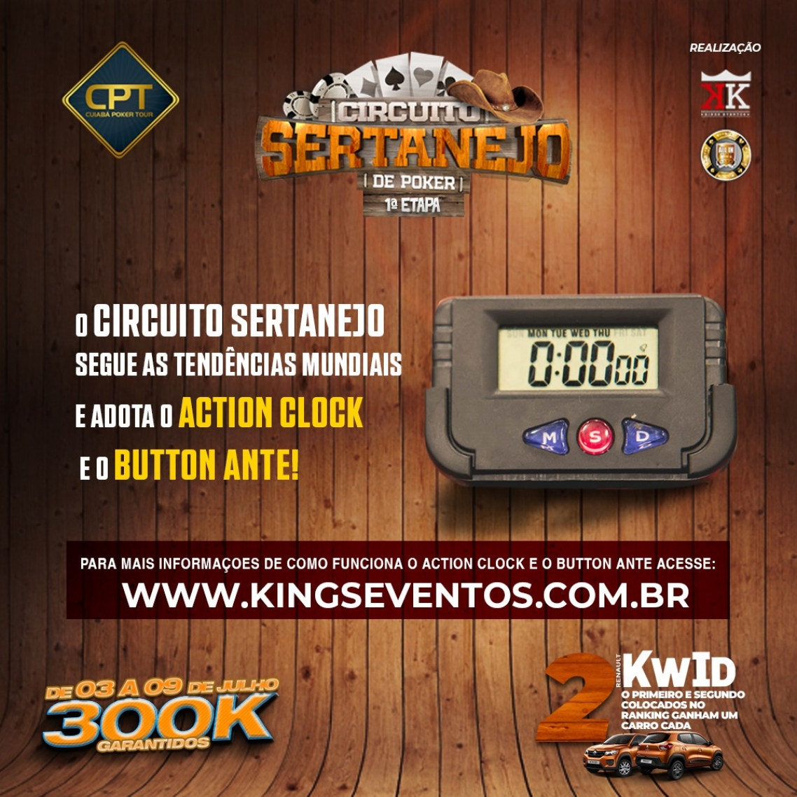 O Circuito Sertanejo contará com as inovações Button Ante & Action Clock